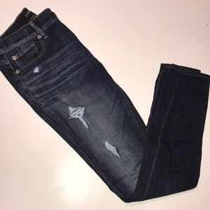 Dark Wash Lightly Destroyed Mid Rise Legging Jean